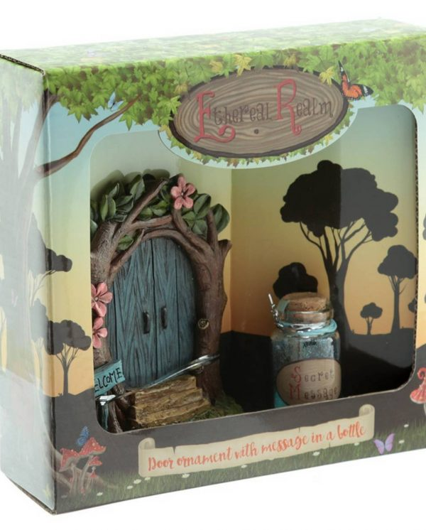 Blue Fairy door with jar