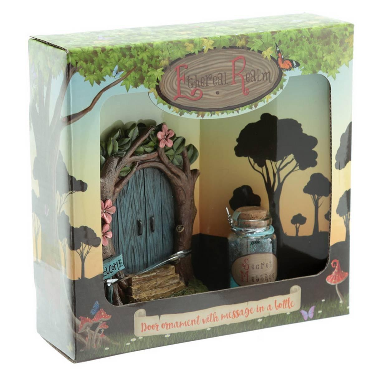 Blue Fairy door with jar