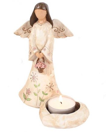 Angel with basket candle holder