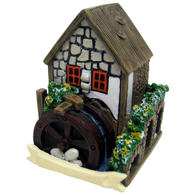 FO_14724E White Fairy House with Water Wheel