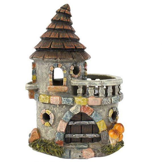 FO_59035 Fairy castle with balcony,solar, light, gift, garden, present,decoration