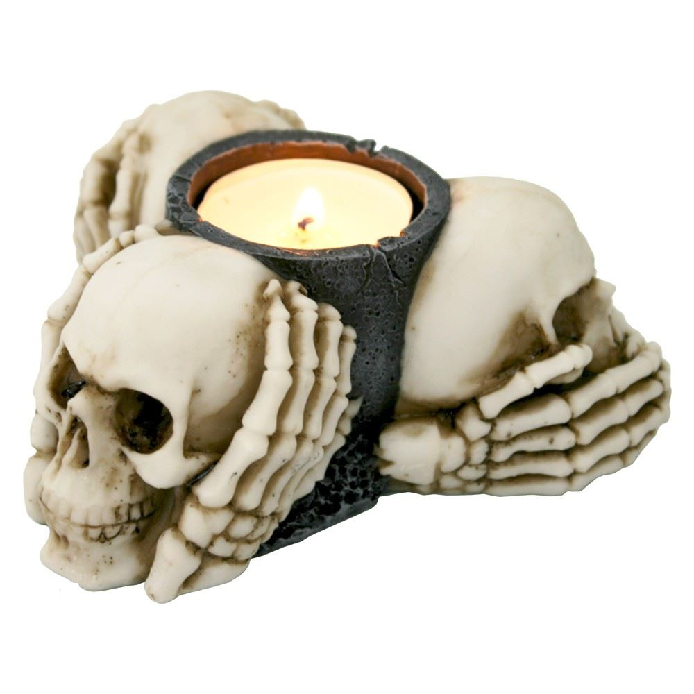 Nemesis Now 3 Wise Skulls Tea Light Holder