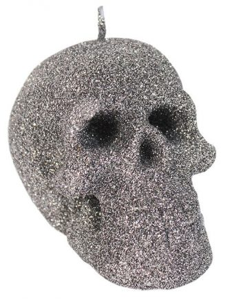Small silver glitter skull candle