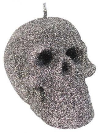Small silver glitter skull candle