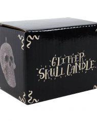 SO_38416 Small silver glitter skull candle box