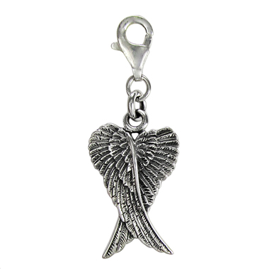 angel wing clip charm, bracelet, present, gift, protection, angelic, unusual,