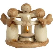 Ceramic tea light holder, circle, angels, gift, present, idea, friend, mum, daugher, sister