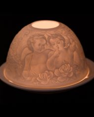 900905-X Porcelain whispering angels candle holder lit