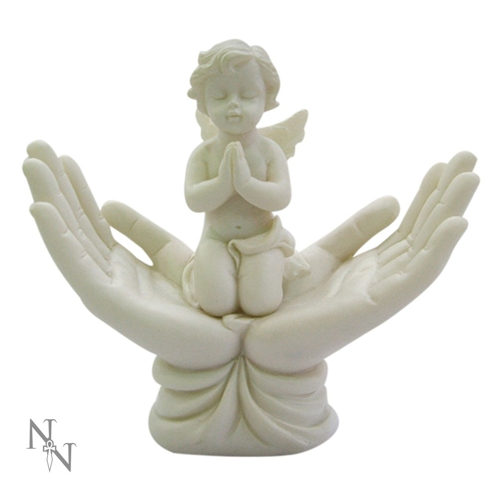 "Small 4"" Praying Cherub Knelt on Open Hands Raised To Heaven Memorial Baby Angel"