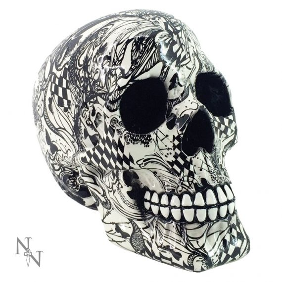 Abstraction black and white Nemesis Now Pop Art Skull Ornament