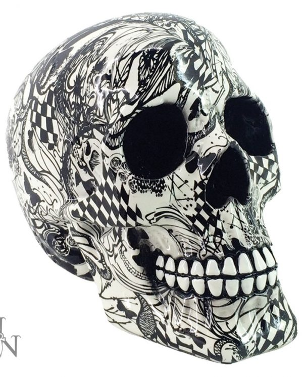 Abstraction black and white Nemesis Now Pop Art Skull Ornament