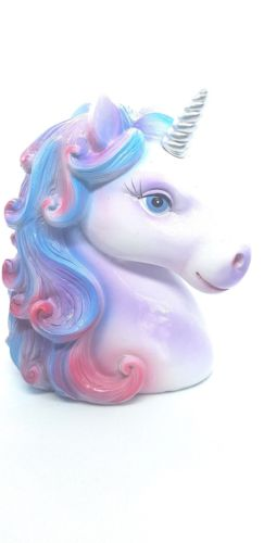 Unicorn Head Silver Horn
