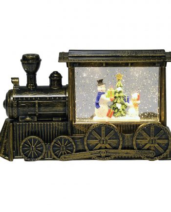 snowman water spinner glitter LED train