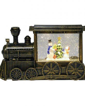 snowman water spinner glitter LED train