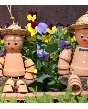 2 x Flower Pot Men Terracotta Hanging Garden Ornaments - 'Bill and Ben'